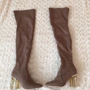 Shoes - Faux suede Over the knee boots